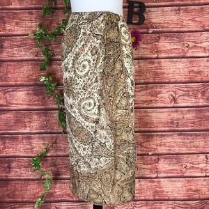 Emanuel Ungaro Skirt size 4 38 Brown Green Paisley